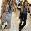 2016 Fashion Women Sportswear Autumn Winter Printed Letter Tracksuits Long-sleeve Casual Suit Costumes Mujer 2 Piece Set