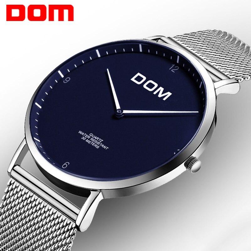 DOM Amateurs Montre Top Marque De Luxe montre À Quartz Casual quartz-montre en cuir Maille sangle ultra mince horloge mâle Relog M-36D-2MS