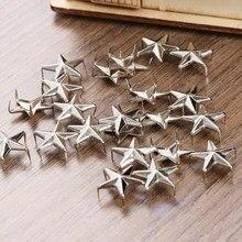100 pçs 15mm estrela rebites de prata metal couro artesanato diy pregos pontos pontos nailhead rock punk vestuário vestuário costura decoração