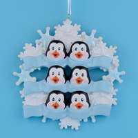 Penguin Family Of 6 Glossy Resin Glitter Hang Personalized Craft Souvenirs Christmas Party Decoration Snowflake Free