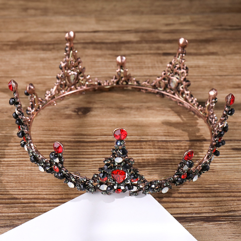 Vintage Red And Black Crystal Full Round Baroque Crown Circle Rhinestone  Women Queen Tiara Wedding Prom Pageant Hair Accessories-in Hair Jewelry  from ... 4163107fcc04