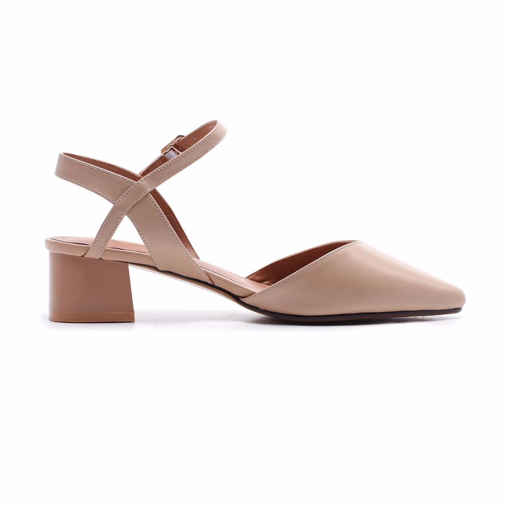 shallow Cuero Verano Toe Bombas Oficina Partido L69 Punta Señora Talones 2018 Boda Mujer Brown Nueva Zapatos Llegada De Beige Med Genuino 4 Cm Shallow qtxBAWBXw