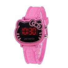 Helllo Ketty светодиодный часы модные студенческие девочки светодиодный часы KT наручные часы с котом