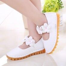 3cefb1f64 Lagabogy زهرة بيضاء الفتيات كعب مسطح والأحذية الكورية الأطفال الأحذية  الجلدية أميرة حزب أحذية الزفاف واحدة