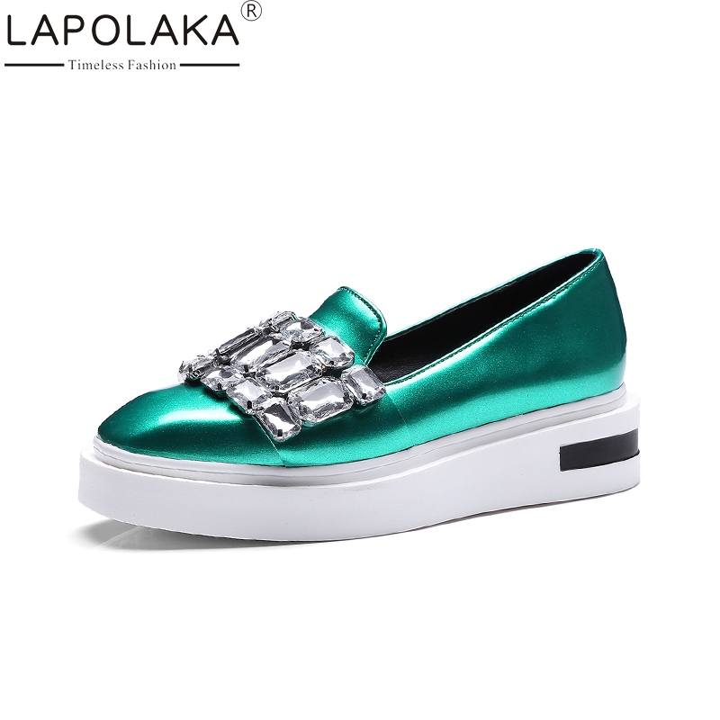 LAPOLAKA Large Size 34-43 Brand New  Big Crystals Loafers Flats Women Shoes Spring Leisure Girls Fashion Woman Shoes new brand spring pointed toe ladies shoes fashion snake style women flats casual leather shoes woman big size 34 43