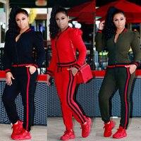 2018 TWO PIECE SET Stripe jogger Pants Women Sweatsuit Runway Tracksuit 2 Pieces Sporting Suit Female Clothing Outfits Plus Size