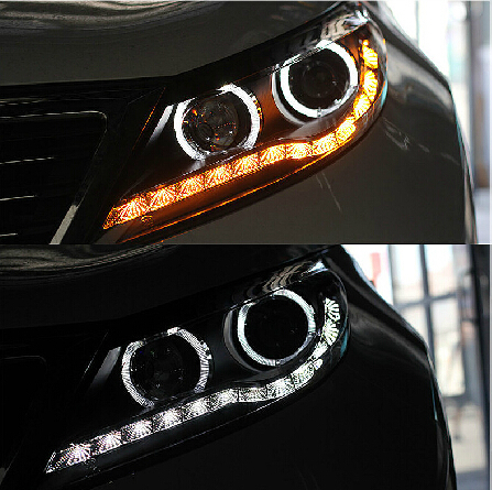 Free Shipping by EMS for KIA SPORTAGE R 2012 2013 V1 HID xenon LED headlight/headlamp led daytime runnibg light+angel eyes halo