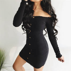 Women Long Sleeve Evening casual Party Bodycon Mini Dresses