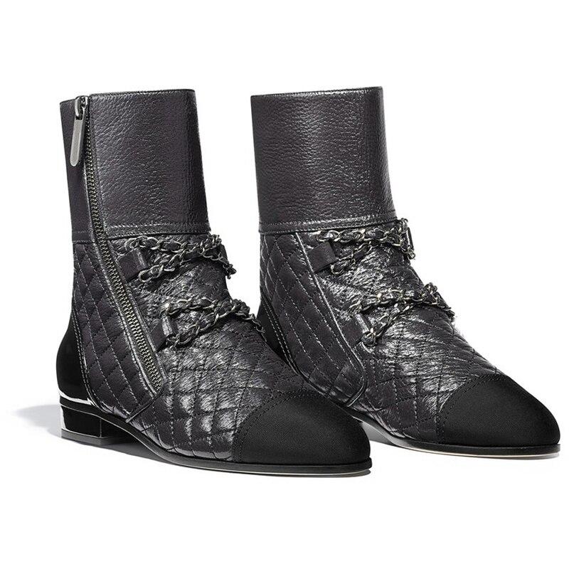 Vérifier Chelsea Décoratives Chaussures Diamant Chaînes Bottines Noir Fermetures blanc Courtes De Cuir En Bottes Éclair Talons Faible Tendance Tube Véritable n8qZgw0Y