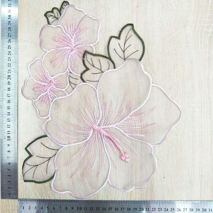 """2 1//2/"""" x 4/"""" Grey Gray Oriental Rose Blossom Flower Embroidery Patch"""