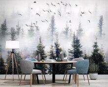 Купить с кэшбэком Beibehang Mural wallpaper pine forest cloud bird wallpaper background walls home decoration living room bedroom 3d wallpaper