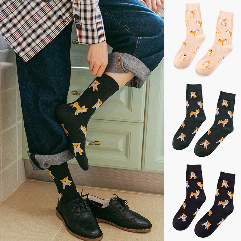 Realistic Casual Cute Socks Cartoon Women Cotton Socks Female Funny Corgi Dog Animal Socks Mild And Mellow Socks Women's Socks & Hosiery