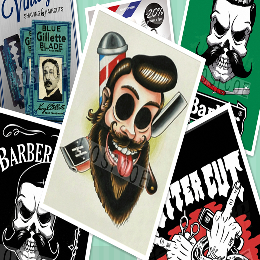 Retro Hairdresser Tattoos Patterned kraft Paper Poster Barber Shop Decor Barber Tools Shave Hair Salon Wall Stickers 30X42 CM sticker