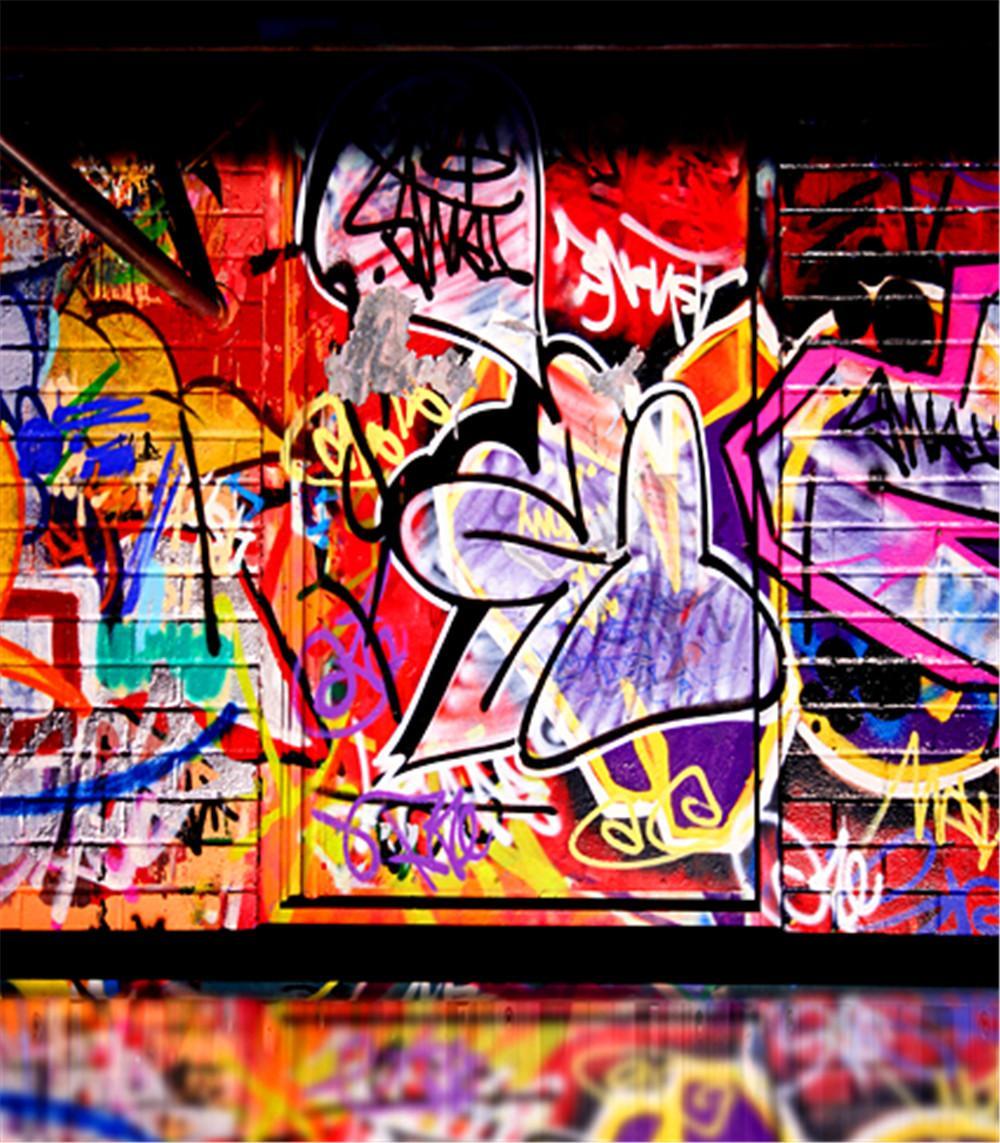 Colour Hip Hop Graffiti Party Backdrop Vinyl Cloth High Quality For Street Wall