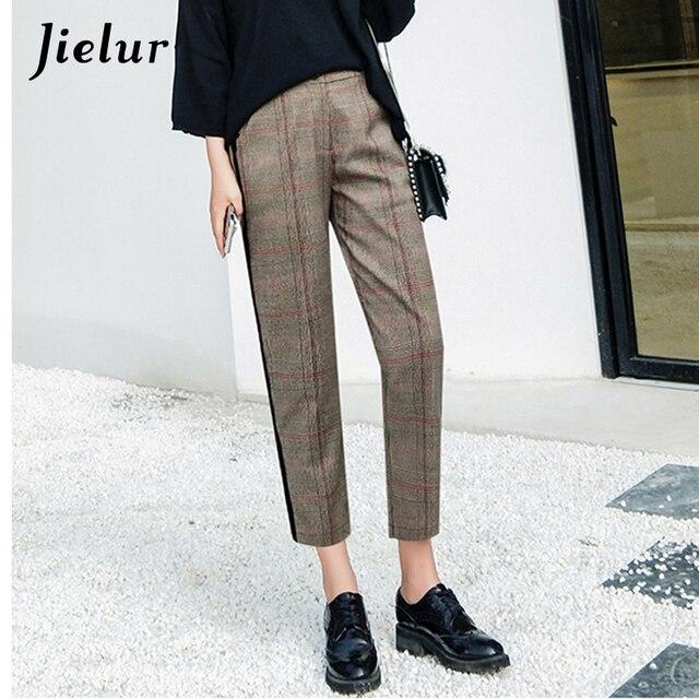 Jielur England Style Side Stripe Plaid Harem Pants Female Pockets OL High Waist Women Capri S-XL Gray Spring Autumn Pants