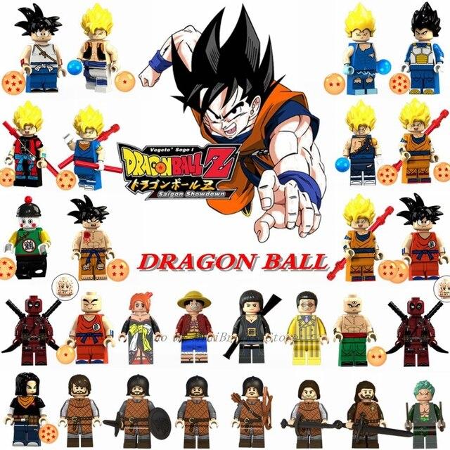 Venda única Figura Dragon Ball Z Son Goku Vegeta Mestre Kame Figuras Kuririn Conjunto Legoing Modelo Bloco de Construção Brinquedos para crianças
