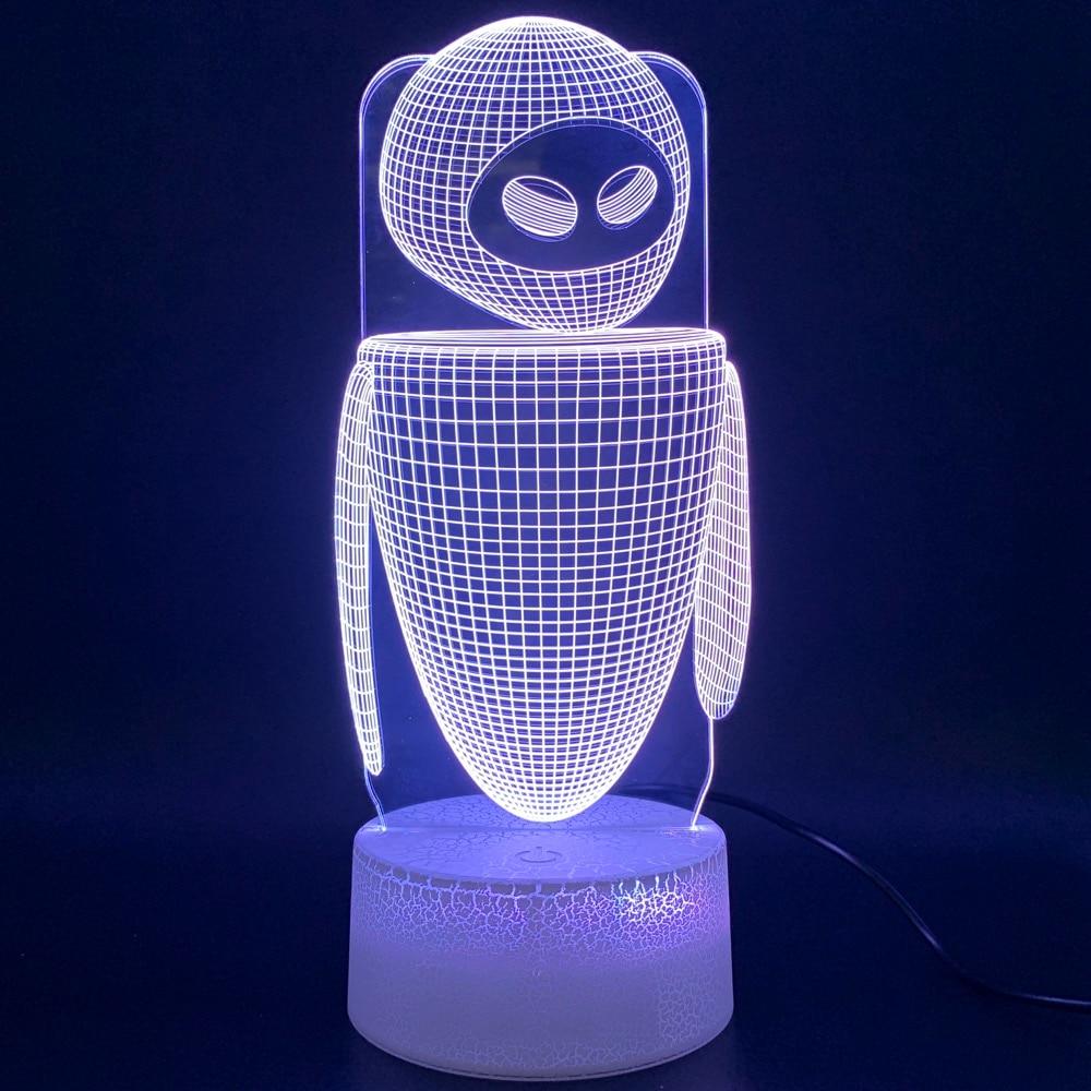 Led Night Light Movie WALL E 2 Robot Eva Figure 3d Lamp Lampara Home Decoration Birthday Gift For Kids Baby Novelty Lights