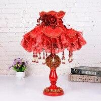 Творческий смолы настольная лампа Спальня Ночной цветок настольная лампа рождения Свадебные украшения стол свет Гостиная Современные нас