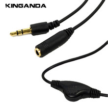 3.5mm Jack TO 3.5mm Jack Female Aux Cable With Volume Control Earphone Headphone Speaker Extension Audio Cable Adapter Wire Cord(China)