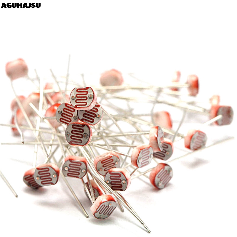 50PCS/lot  LDR Photo Light Sensitive Resistor Photoelectric Photoresistor 5528 GL5528 5537 5506 5516 5539 5549 For Arduino