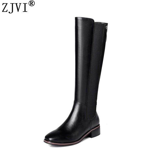 ZJVI women autmn thigh high boots woman low heels black brown genuine leather microfiber knee high boos 2018 fashion shoes