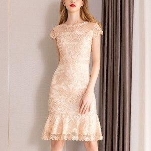 Image 5 - 2019 summer new women elegant Dress short Petal sleeve O neck bag hip sheath Embroidery lace Dress vestidos de verano