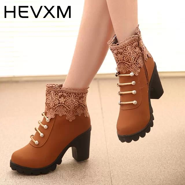 HEVXM 2017 New Women Boots Fashion PU Leather Round Toe Ankle Boots Sexy Lace Ladies High Heels Platform Shoes Woman cuculus 2018 women boots fashion pu leather round toe ankle boots sexy lace ladies high heels platform shoes woman 331