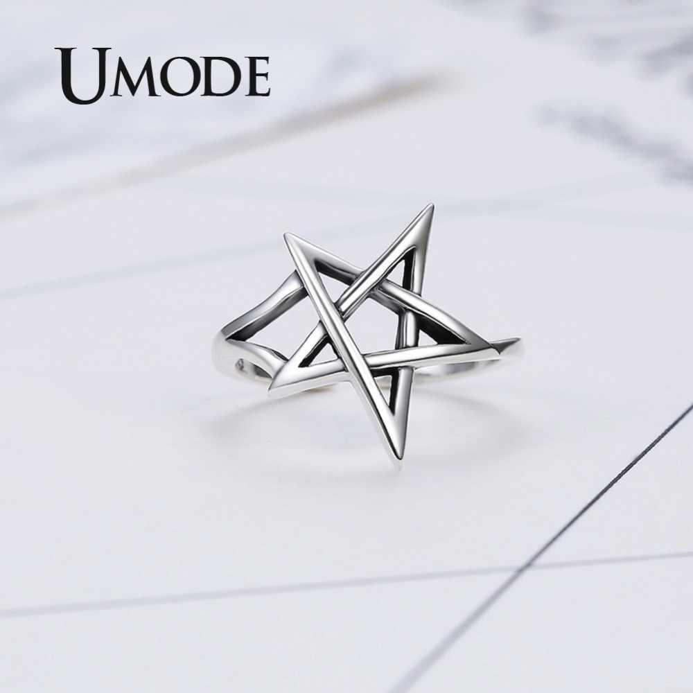 EM MODO DE UTILIZADOR Mulheres Estrela de Prata Esterlina 925 Anéis De Noiva Set Oco Pentagrama ULR0324 Aberto Ajustável Anéis 925 Jóias de Prata Fina