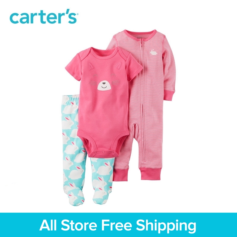 Carter's 3-Piece baby children kids clothing Girl Spring Cotton Bunny Sleep & Play Set 126G968