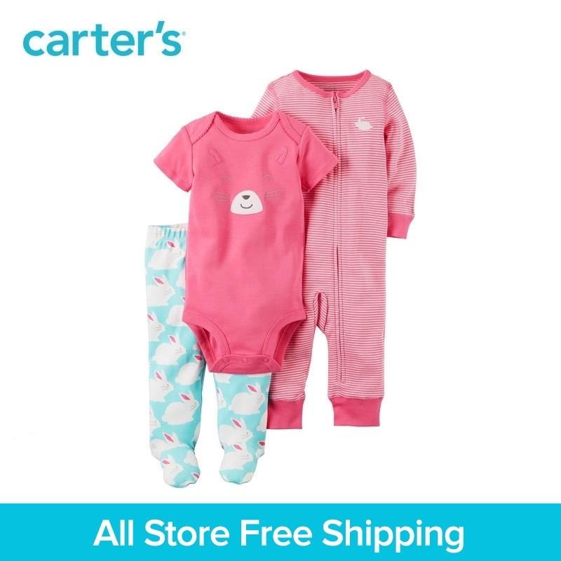 Carter's 3-Piece baby children kids clothing Girl Spring Cotton Bunny Sleep & Play Set 126G968