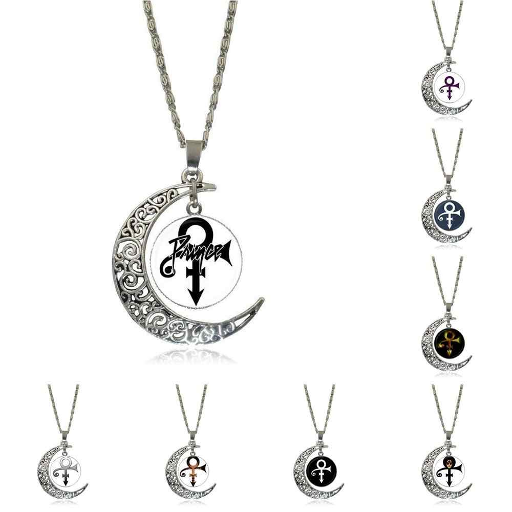 EJ Glaze Prince RIP Symbol Logo Love Gothic For Men Women Vintage Jewelry  Silver Plated With Crescent Shaped Luminous Necklace    - AliExpress