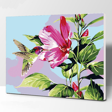 The red flowers DIY Painting By Numbers Handpainted Oil Living Room Home Wall Decor Plum Artwork