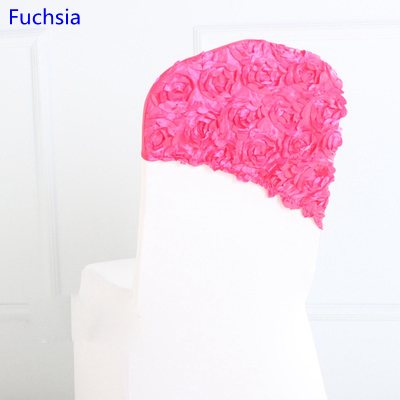 Fuchsia colour embroider rosette satin chair sash wedding decoration chair covers hood lycra band fit all chairs wholesale