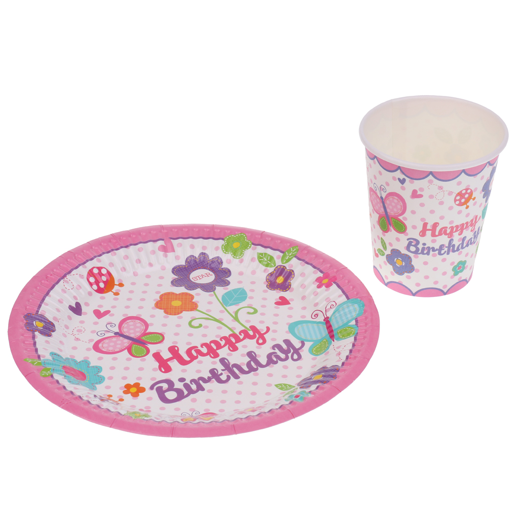 10 Pieces Happy Birthday Cups Disposable Party Tableware pink/blue ...