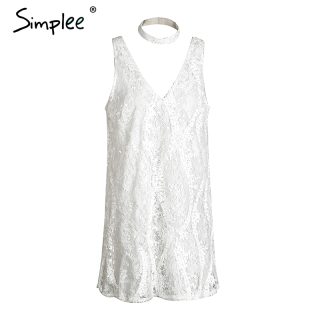 Simplee Halter white lace sequins summer dress Women sexy deep v neack sleeveless short dress Causal party club dress vestidos