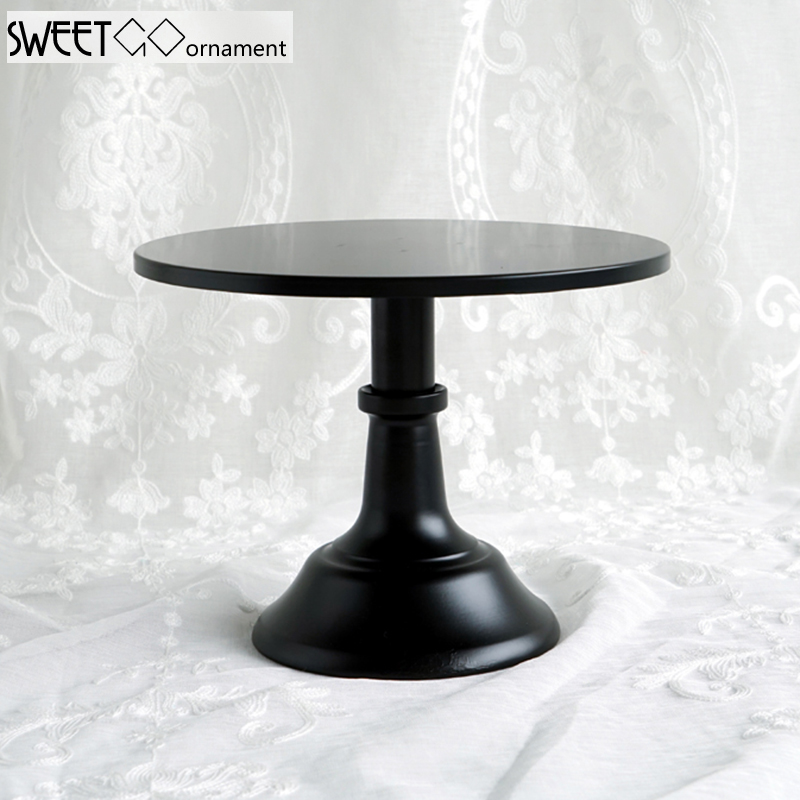 SWEETGO 10/12 inch black cake stand quality metal wedding cake <font><b>tools</b></font> display table decorator home decoration bakeware dinnerware