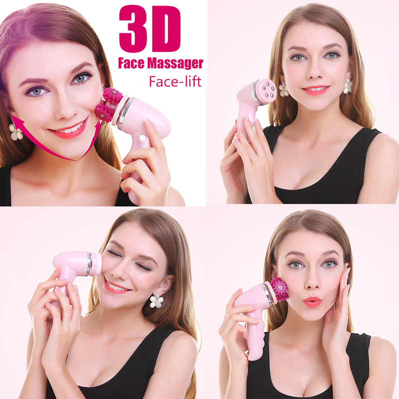 Deep Clean Electric Facial Cleansing Brush 3D Face Lift Massager 4 In 1 Waterproof Soft Beauty Skin Care Tool USB Rechargeable