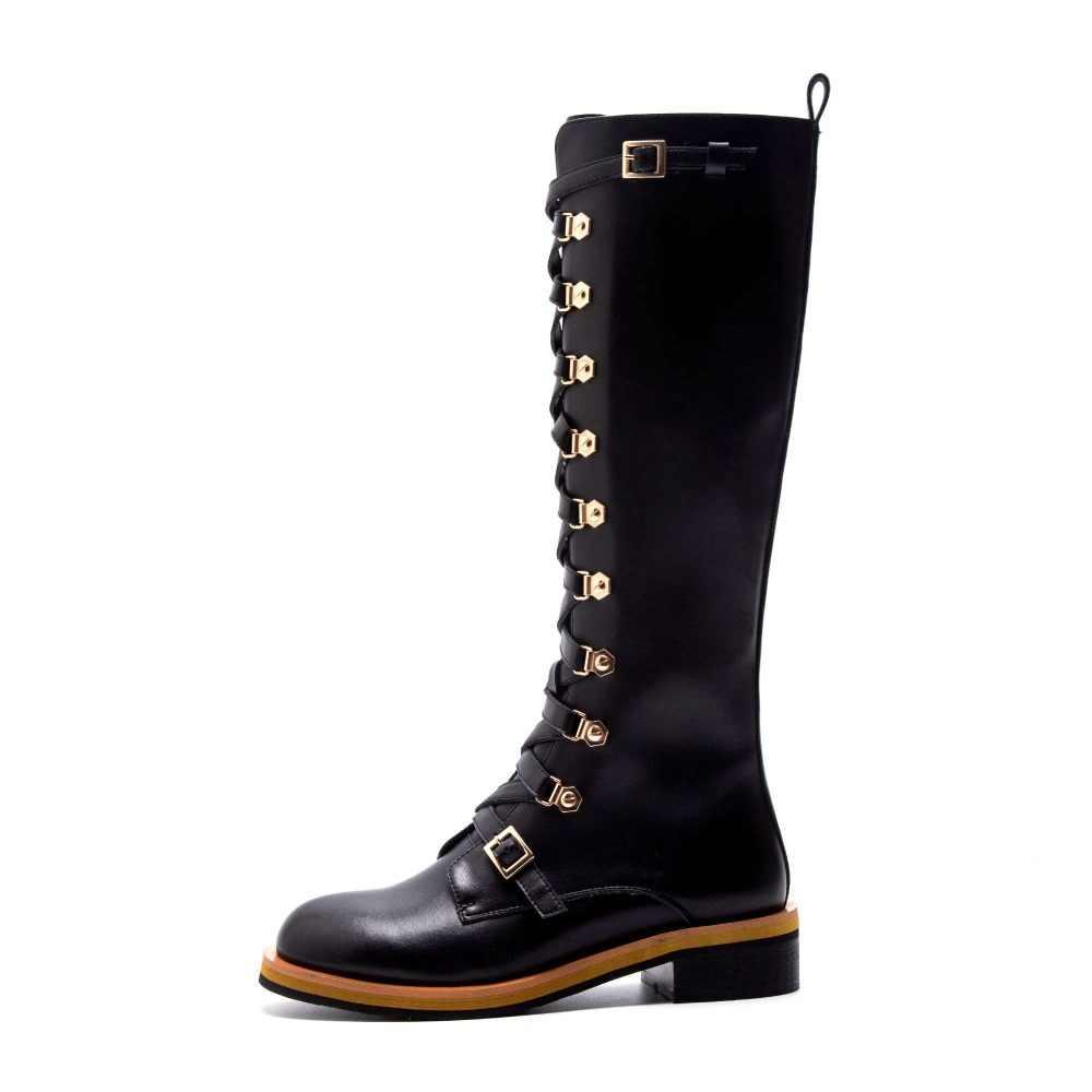 Lenkisen rock stil hübschen mädchen naturla leder schnalle gürtel design nachtclub zipper med heels runde kappe motorrad stiefel L67