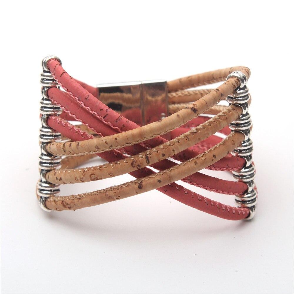 Natural Cork colorful Multiple Strands Bangle women Magnet clasp bracelet vintage original handmade wooden jewelry BR-198