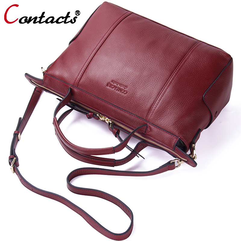Contact's Brand Luxury Handbags Women Bags Designer Female Shoulder Bag Genuine Leather Crossbody Bags For Women Messenger Bags 2017 new female genuine leather handbags first layer of cowhide fashion simple women shoulder messenger bags bucket bags