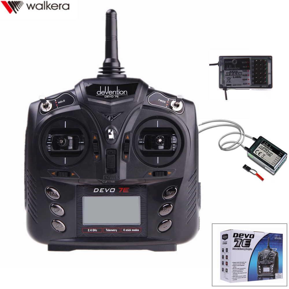 Walkera DEVO 7E 2.4G 7CH DSSS Radio Control Transmitter With RX601/RX701 Receiver for RC Helicopter Airplane Model 2 image