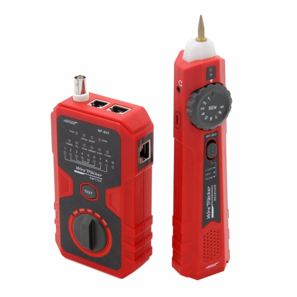 Cable Line Locator Portable Wire Tracker RJ11 RJ45 BNC Line Finder Cable Tester For Network Cable Split Pairs Testing mastech ms6818 portable instruments professional cable locator wire tracker pipelines detector tester ac dc voltage 12 400v