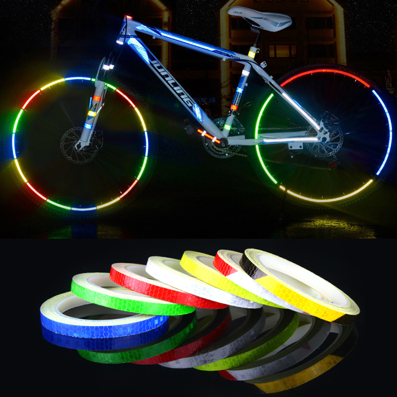 US MTB Bike Bicycle Fluorescent Wheel Rim Stickers Cycling Reflective Decal Tape