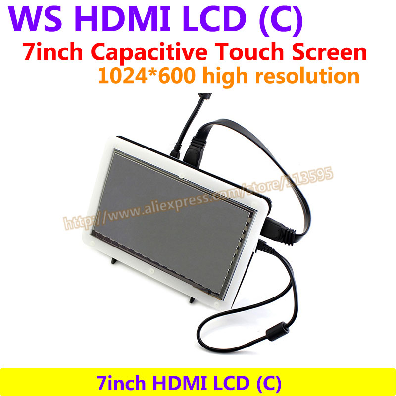 7inch HDMI LCD(C) (with bicolor case) 1024*600 Capacitive Touch Screen Drive Demo board Support Raspberry Pi B 2/3 & Banana Pi 7 inch raspberry pi 3 touch screen 1024 600 lcd display hdmi interface tft monitor module compatible raspberry pi 2 model b