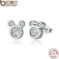 BAMOER Popular 925 Sterling Silver Dsney Dazzling Micky Push Back Stud Earrings For Women Girls Jewelry