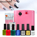 Professional Nail Art Manicure Tools UV Lamp & Base Top Coat Polish & Liquid Palisade & Nail Brushes Gel Nail Polish Set