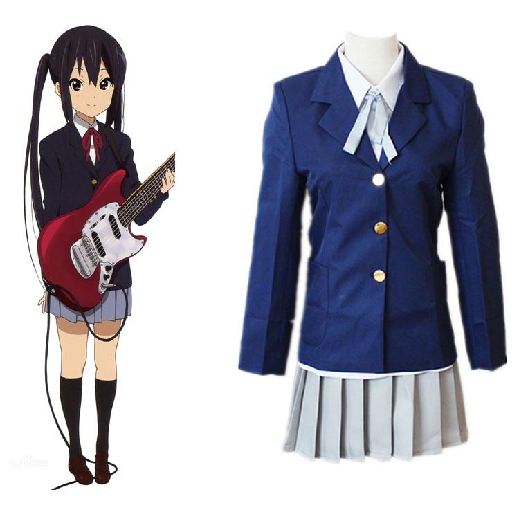 Anime K-ON! Cosplay Mio Akiyama School Uniform Cosplay Costumes Halloween Carnival Party Yui Hirasawa  Women Cosplay Costume