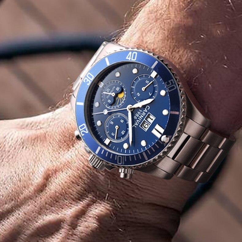 relógios mecânicos calendário lua fase luminosa nadar safira montre homme