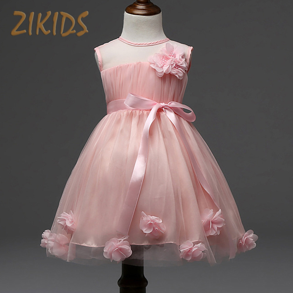 Kids Dresses Girls Summer Style Flowers Dress Wedding Party Voile Sleeveless Costume Baby Girl Clothes Children Clothing new girls flowers dress for wedding and party summer baby clothes princess kids dresses for girl children costume 3 10t w1625133