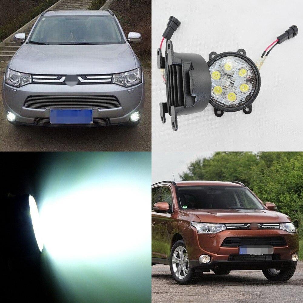 July King 18W 6LEDs H11 LED Fog Lamp Assembly Case for Mitsubishi Outlander 2008+ etc, 6500K 1260LM LED Daytime Running Lights